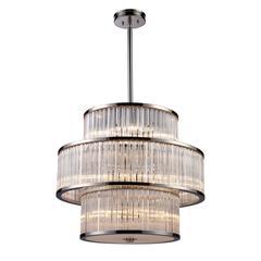 ELK lighting Braxton 15 Light Pendant In Polished Nickel
