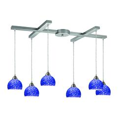 Cira 6 Light Pendant In Satin Nickel With Pebbled Blue Glass