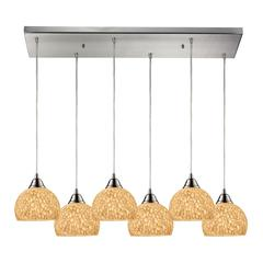 ELK lighting Cira 6 Light Pendant In Satin Nickel Pebbled Gray-White Glass