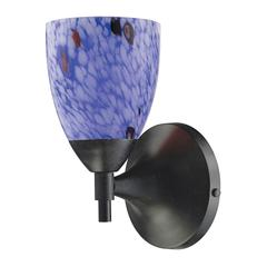 Celina 1 Light Sconce In Dark Rust And Starburst Blue Glass
