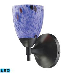 Celina 1 Light LED Sconce In Dark Rust And Starburst Blue Glass