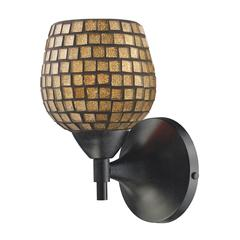 Celina 1 Light Sconce In Dark Rust And Gold Glass