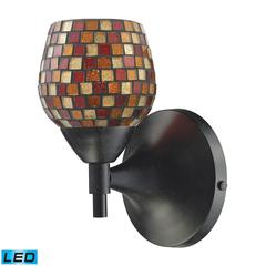 Celina 1 Light LED Sconce In Dark Rust And Multi Fusion Glass