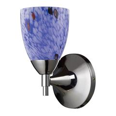 Celina 1 Light Sconce In Polished Chrome And Starburst Blue Glass