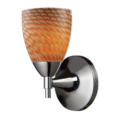 ELK lighting Celina 1 Light Sconce In Polished Chrome And Cocoa Glass