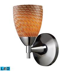 Celina 1 Light LED Sconce In Polished Chrome And Cocoa Glass