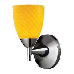 Celina 1 Light Sconce In Polished Chrome And Canary Glass