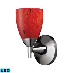 Celina 1 Light LED Sconce In Polished Chrome And Fire Red
