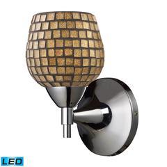 ELK lighting Celina 1 Light LED Sconce In Polished Chrome And Gold Glass