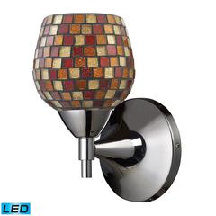 Celina 1 Light LED Sconce In Polished Chrome And Multi Fusion Glass