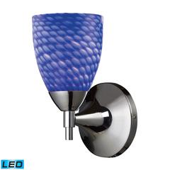 Celina 1 Light LED Sconce In Polished Chromew And Sapphire Glass