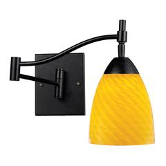 Celina 1 Light Swingarm Sconce In Dark Rust And Canary Glass