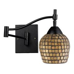 Celina 1 Light Swingarm Sconce In Dark Rust And Gold Leaf