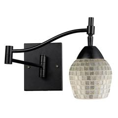 Celina 1 Light Swingarm Sconce In Dark Rust And Silver Glass