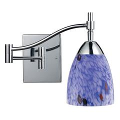 Celina 1 Light Swingarm Sconce In Polished Chrome And Starburst Blue Glass