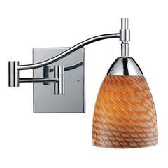 ELK lighting Celina 1 Light Swingarm Sconce In Polished Chrome And Cocoa Glass