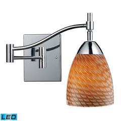 ELK lighting Celina 1 Light LED Swingarm Sconce In Polished Chrome And Cocoa Glass