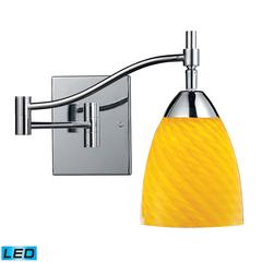 Celina 1 Light LED Swingarm Sconce In Polished Chrome And Canary Glass
