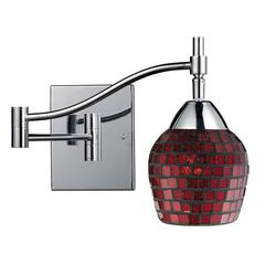 Celina 1 Light Swingarm Sconce In Polished Chrome And Copper Glass