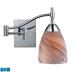 ELK lighting Celina 1 Light LED Swingarm In Polished Chrome And Creme Glass
