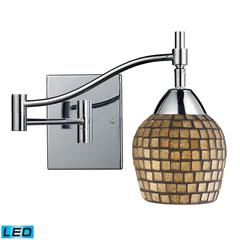 Celina 1 Light LED Swingarm Sconce In Polished Chrome And Gold Leaf Glass
