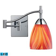 ELK lighting Celina 1 Light LED Swingarm Sconce In Polished Chrome And Multi Glass