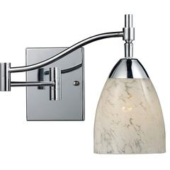 ELK lighting Celina 1 Light Swingarm Wall Sconce In Polished Chrome And Snow White