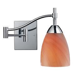 ELK lighting Celina 1 Light Swingarm Sconce In Polished Chrome And Sandy Glass