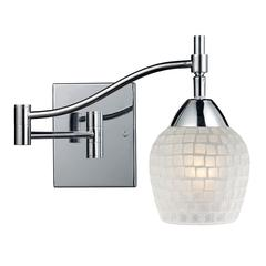 ELK lighting Celina 1 Light Swingarm Sconce In Polished Chrome And White