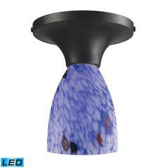 Celina 1 Light LED Semi Flush In Dark Rust And Starburst Blue Glass