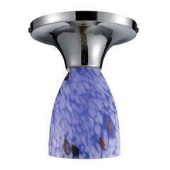 Celina 1 Light Semi Flush In Polished Chrome And Starburst Blue Glass