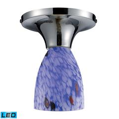 Celina 1 Light LED Semi Flush In Polished Chrome And Starburst Blue Glass