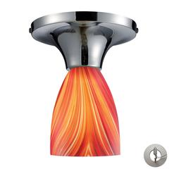 Celina 1 Light Semi Flush In Polished Chrome And Multi Glass - Includes Recessed Lighting Kit