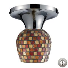 ELK lighting Celina 1 Light Semi Flush In Polished Chrome And Multi Fusion Glass - Includes Recessed Lighting Kit