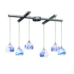 Mela 6 Light Pendant In Satin Nickel And Mountain Glass