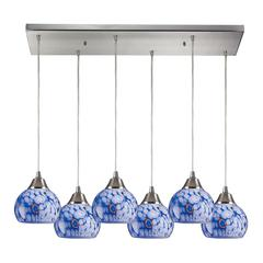 Mela 6 Light Pendant In Satin Nickel And Starburst Blue Glass