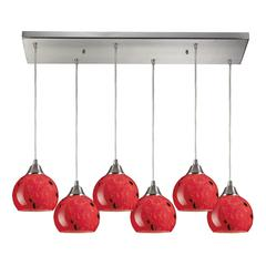 ELK lighting Mela 6 Light Pendant In Satin Nickel And Fire Red Glass