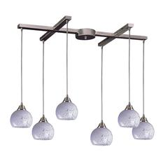 Mela 6 Light Pendant In Satin Nickel And Snow White Glass