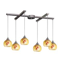 Mela 6 Light Pendant In Satin Nickel And Yellow Blaze Glass