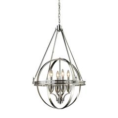 ELK lighting Hemispheres 4 Light Chandelier In Polished Nickel