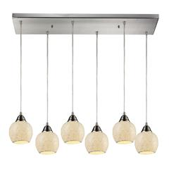 Fission 6 Light Pendant In Satin Nickel And Cloud Glass