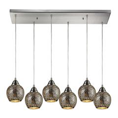 Fission 6 Light Pendant In Satin Nickel And Silver Glass