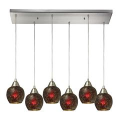 Fission 6 Light Pendant In Satin Nickel And Wine Glass