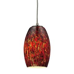Maui 1 Light LED Pendant In Satin Nickel And Ember Glass