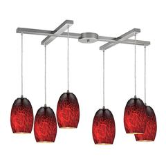 ELK lighting Maui 6 Light Pendant In Satin Nickel And Firebrick Glass