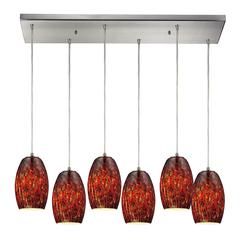 Maui 6 Light Pendant In Satin Nickel And Ember Glass