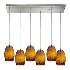 Maui 6 Light Pendant In Satin Nickel And Sunset Glass
