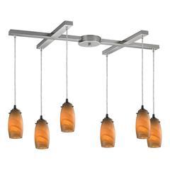 Favelita 6 Light Pendant In Satin Nickel And Honey Melon Glass