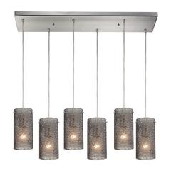 ELK lighting Ice Fragments 6 Light Pendant In Satin Nickel And Smoke Glass