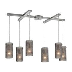 Ice Fragments 6 Light Pendant In Satin Nickel And Smoke Glass